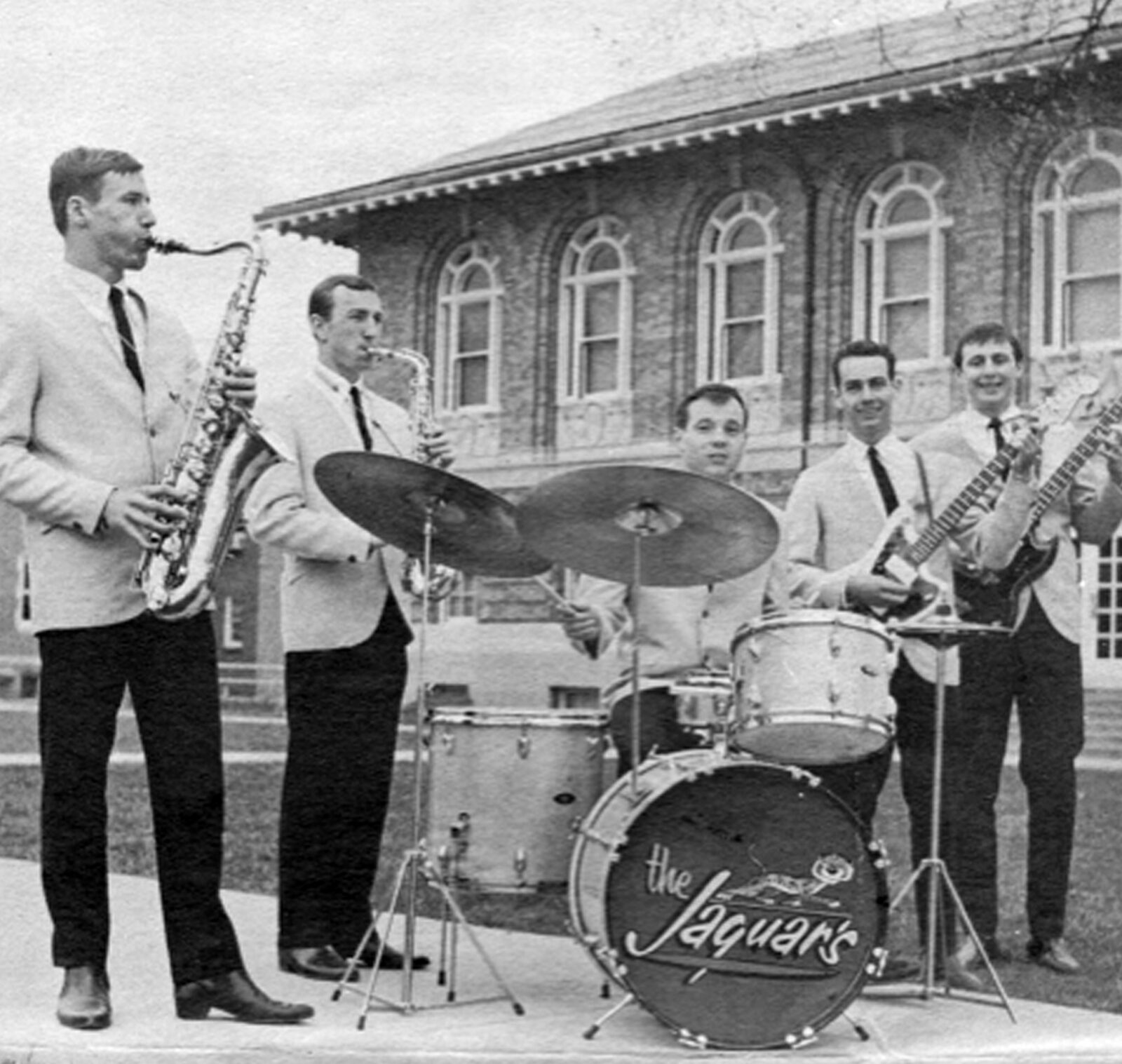 Members of the Jaguars pose in front of Parker Hall in 1965. From left: Bill Meeker, Jim Labit, Jack McAlister, Don Bowman and Don Copeland.