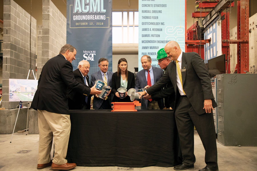 During Homecoming, donors and university officials poured a ceremonial cornerstone for the Advanced Construction and Materials Laboratory. Completion of the ACML campaign was one of the notable fundraising successes of 2018.