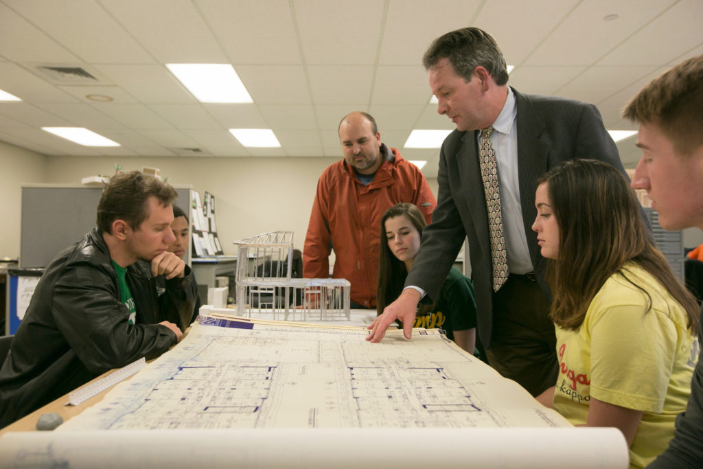 Dr. Stuart Baur teaches Architectural Design I in Butler Carlton Civil Engineering Hall as students work on drawings. Sam O'Keefe/Missouri S&T