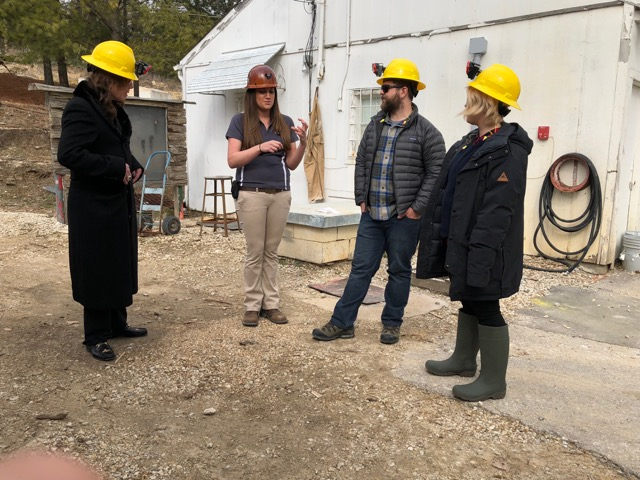 Dr. Catherine Johnson (center) at the Experimental Mine with Ozzy Osbourne (left) and his children Jack and Kelly. (Photo courtesy of A&E Network.)