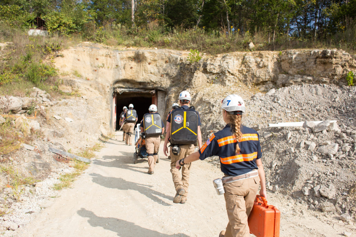 Members of Missouri S&T's Mine Rescue Team enter S&T's Experimental Mine during an annual Missouri Mine Rescue competition hosted by S&T. Jesse Cureton / Missouri S&T