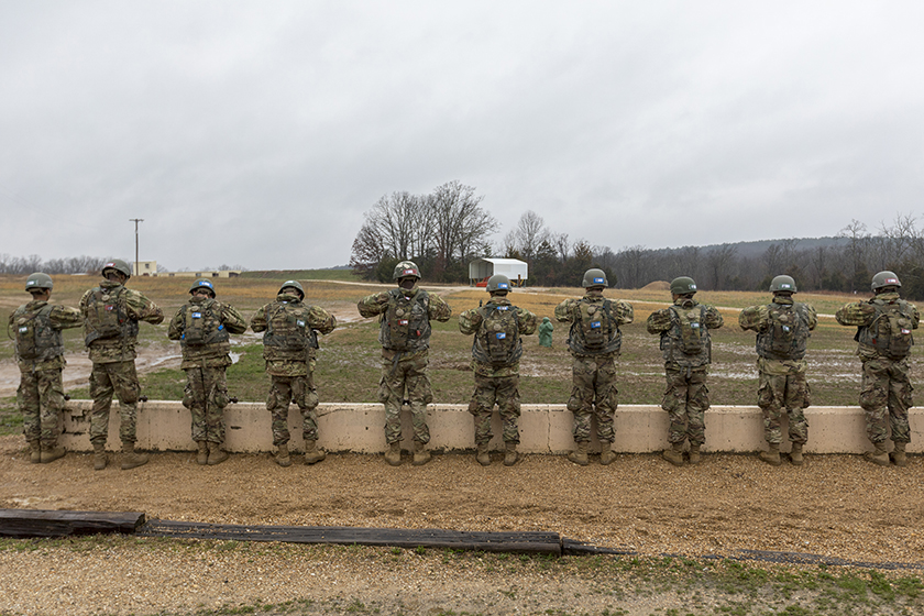 Army recruits at Fort Leonard Wood, Missouri, training in grenade throwing. Exposure to explosions from hand grenades and other ballistics are linked to traumatic brain injury among soldiers. Photo by Tom Wagner/Missouri S&T, ©2019 Missouri S&T;