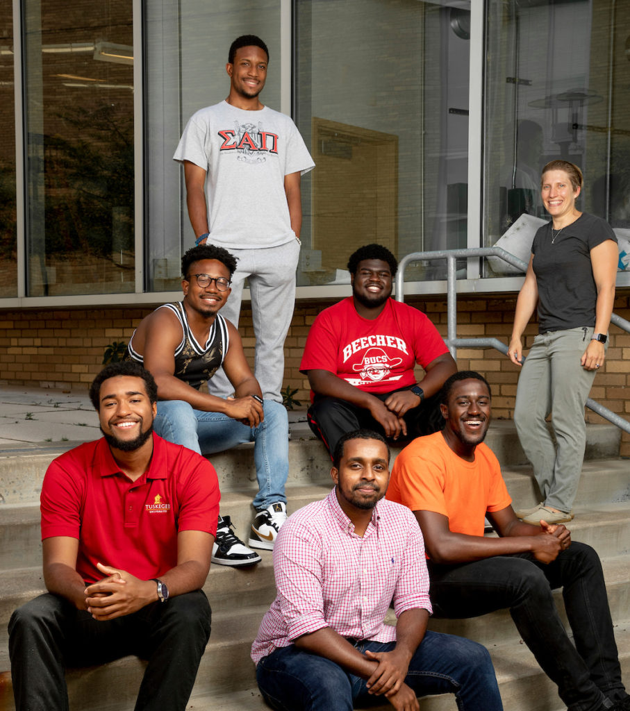 Summer Engineering Research Academy (SERA) participants, front row, from left: Langston Hines of Tuskegee University, Ahmed Osmand of Tennessee State University and Sam Wreh of Tennessee State University; back row, from left, Joshua Campbell, Chris Buford II (standing) and Branden Currie, all of Tennessee State, and Dr. Kelley R. Wilkerson, assistant teaching professor of materials science and engineering at S&T and SERA program director. Photo by Tom Wagner/Missouri S&T, ©2019 Missouri S&T.