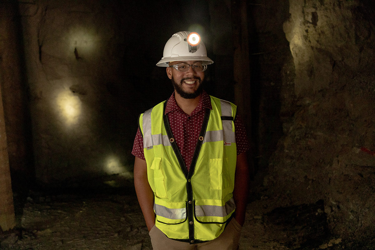 Mining engineering graduate student Jose L. Corchado-Albelo joins Missouri S&T this fall as the first GEM University Fellow in over a decade. He is shown here at the S&T Experimental Mine. Photo by Tom Wagner/Missouri S&T. ©2019 Missouri S&T