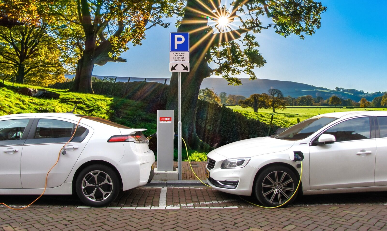 photo of white cars at an electric charging station