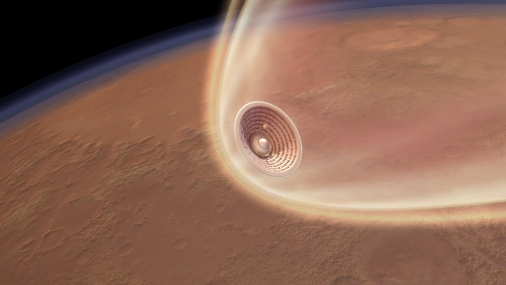 An artist depiction of Hypersonic Inflatable Aerodynamic Decelerator (HIAD) during Mars entry (Image courtesy of NASA)