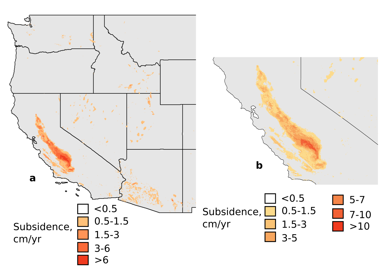 Images indicating land subsidence in western U.S.
