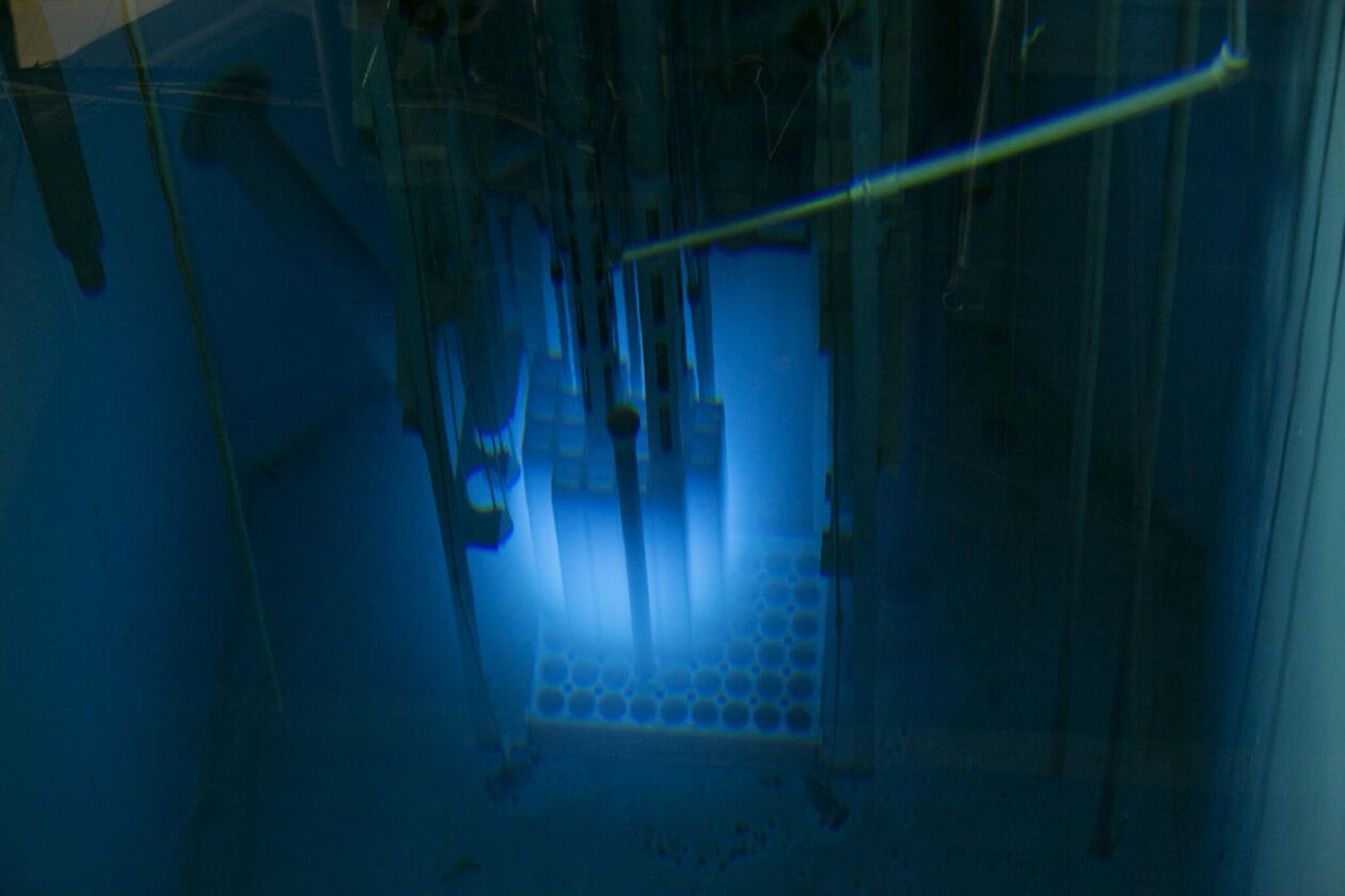 Glowing blue pool at S&T nuclear reactor