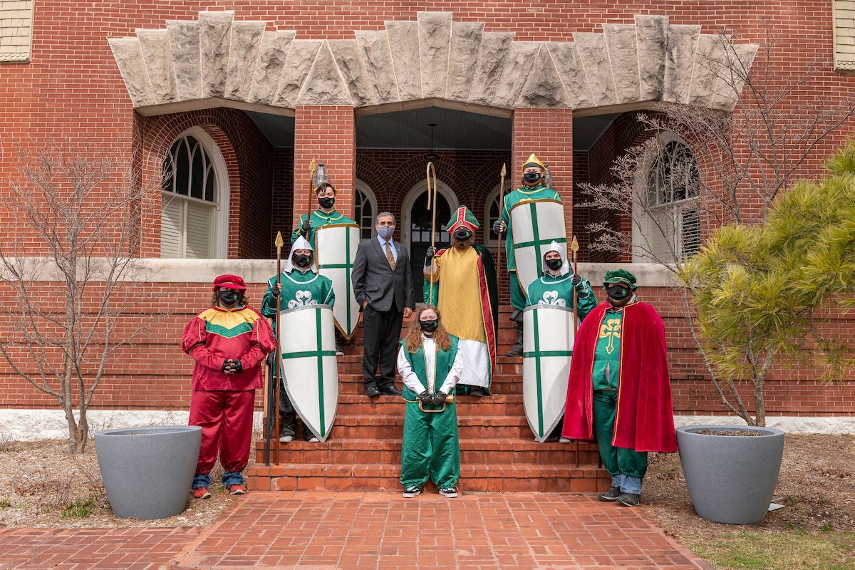 Students dressed as St. Pat and court