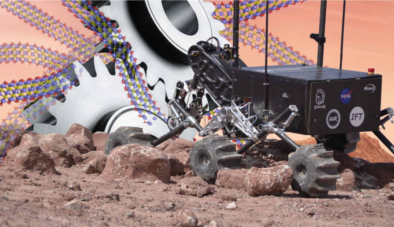 Photo illustration of a Mars rover designed by Missouri S&T students depicting the idea of MXene superlubric sheets applied to the machine's moving parts to reduce friction and wear. Image credit: Shuohan Huang/Missouri S&T