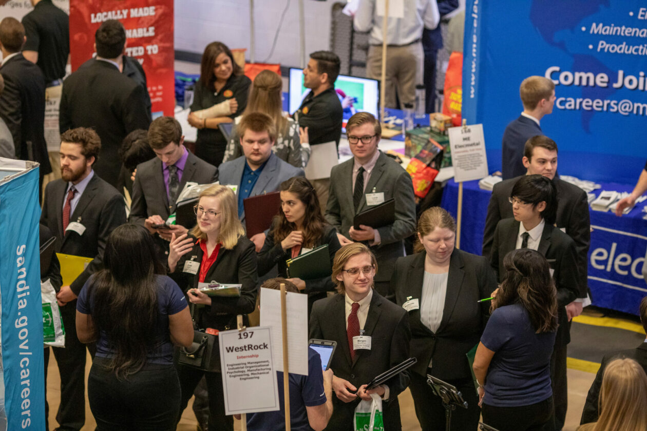 Missouri S&T students are highly sought after by employers from around the world. At the spring 2020 Career Fair (pictured), more than 250 companies signed up to recruit students for full-time jobs, internships or co-op positions. Photo by Tom Wagner/Missouri S&T
