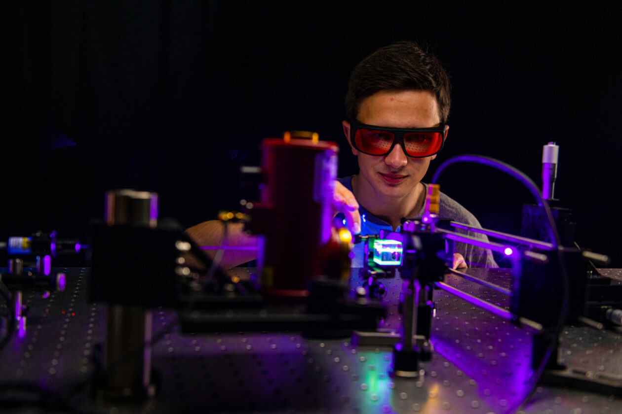 Student using S&T's nuclear materials optical table