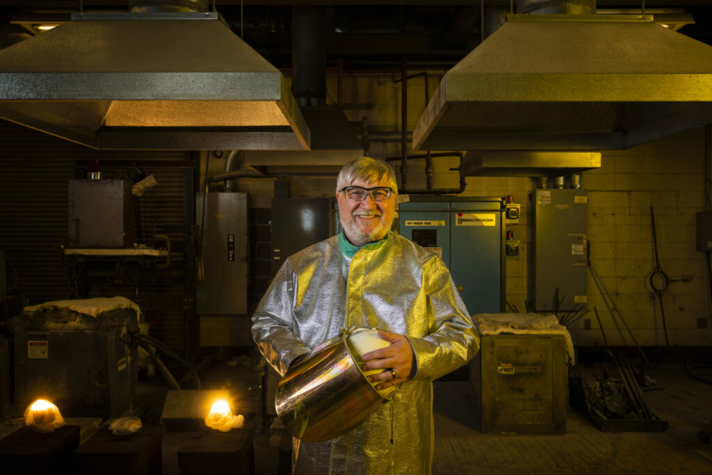 Photo of Dr. Ron O'Malley in Missouri S&T's foundry lab