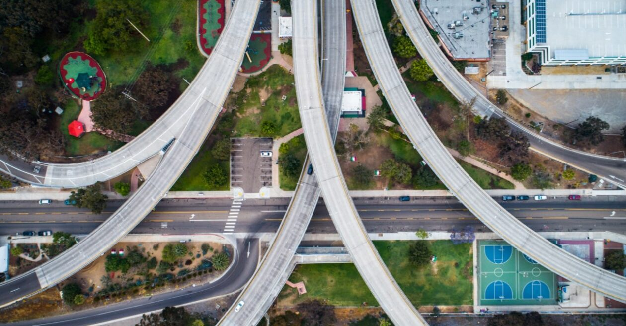 An aerial photo of highway overpasses