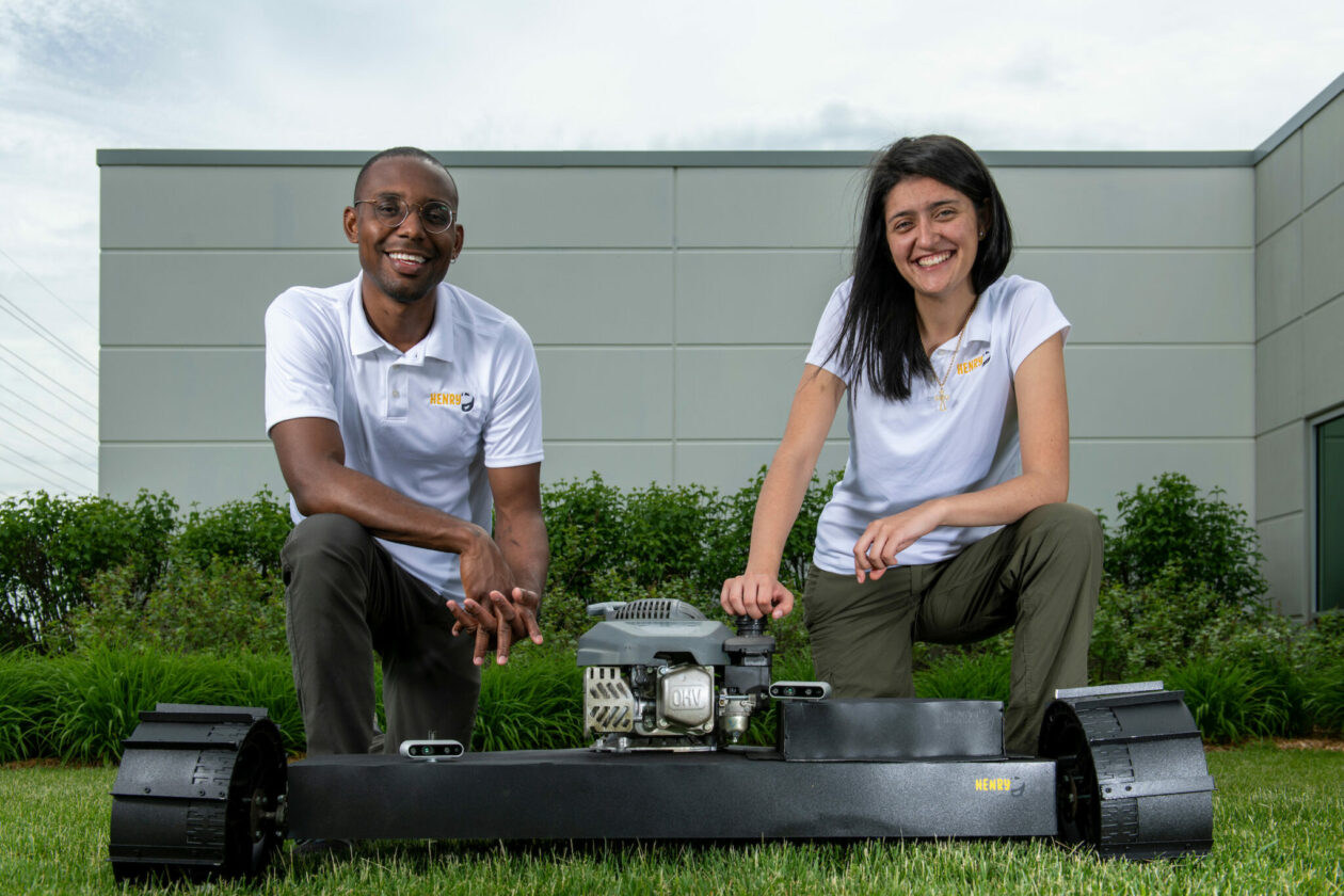 """With their startup Hire Henry, Missouri S&T graduates George Leno Holmes Jr. and Keiry """"Katie"""" Moreno Bonnett plan to transform the landscaping industry. Photo by Michael Pierce/Missouri S&T."""