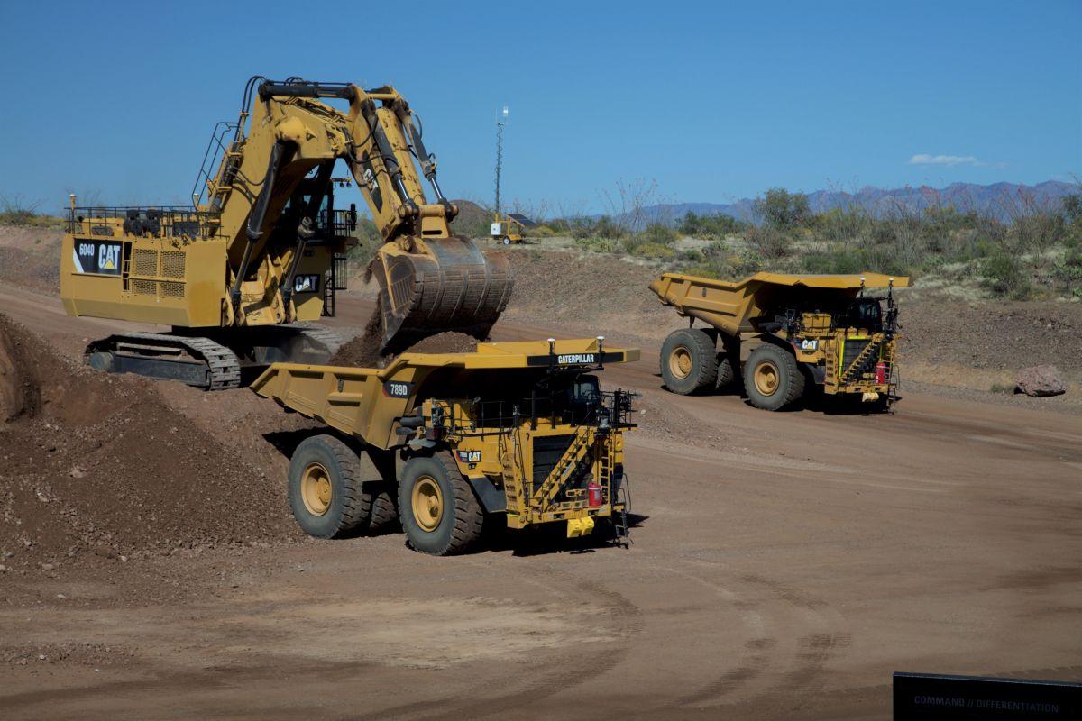Photo of Caterpillar autonomous mining vehicles
